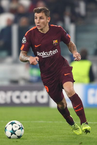 Lucas Digne of Barcelona during the UEFA Champions League group D match between Juventus and FC Barcelona at Juventus Stadium on November 22, 2017 in Turin, Italy.