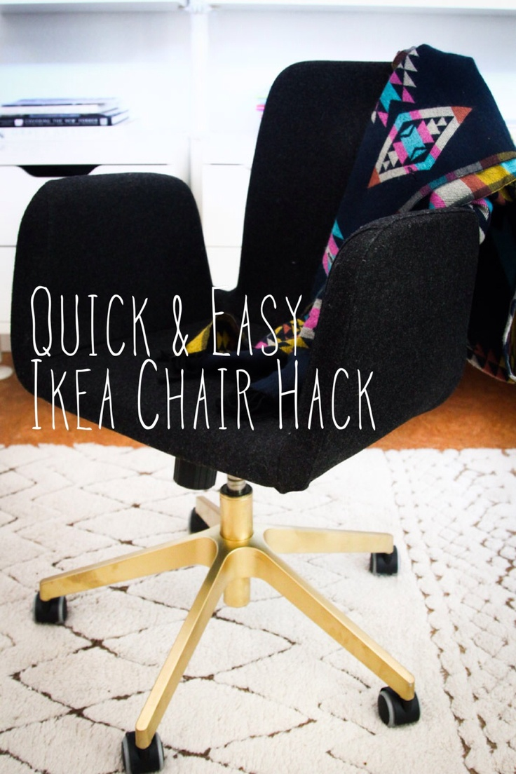 Instant upgrade for an Ikea Office chair- I love this chair, so comfy but it does look a bit officy- this and a custom cover could have it looking great!