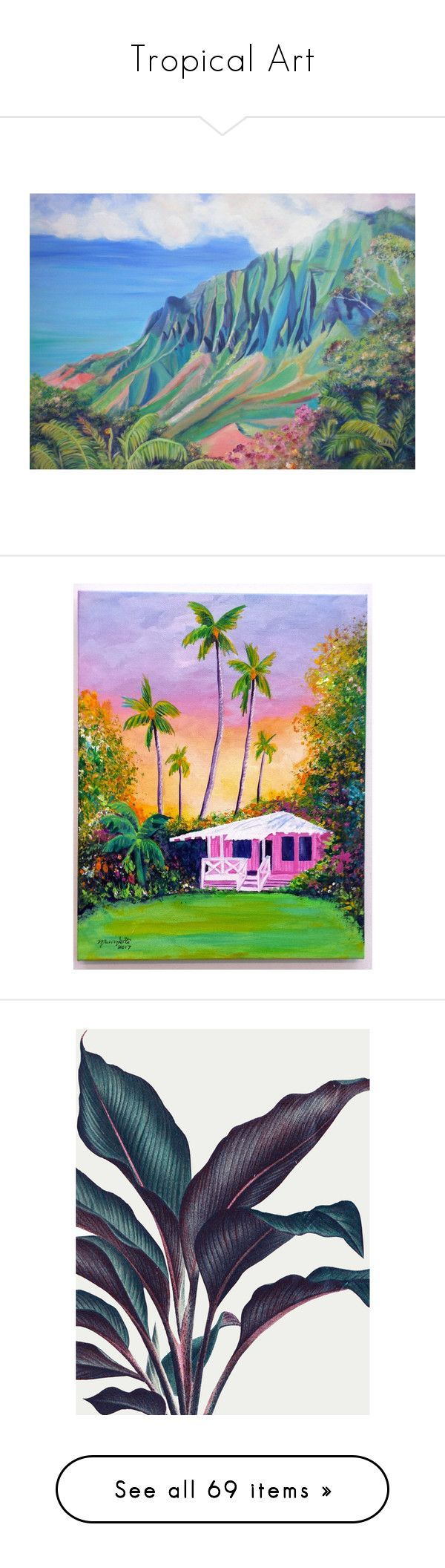 """""""Tropical Art"""" by sarahcaster ❤ liked on Polyvore featuring home, home decor, wall art, turquoise home accessories, unframed wall art, hawaiian home decor, giclee painting, turquoise painting, cottage and hawaii"""
