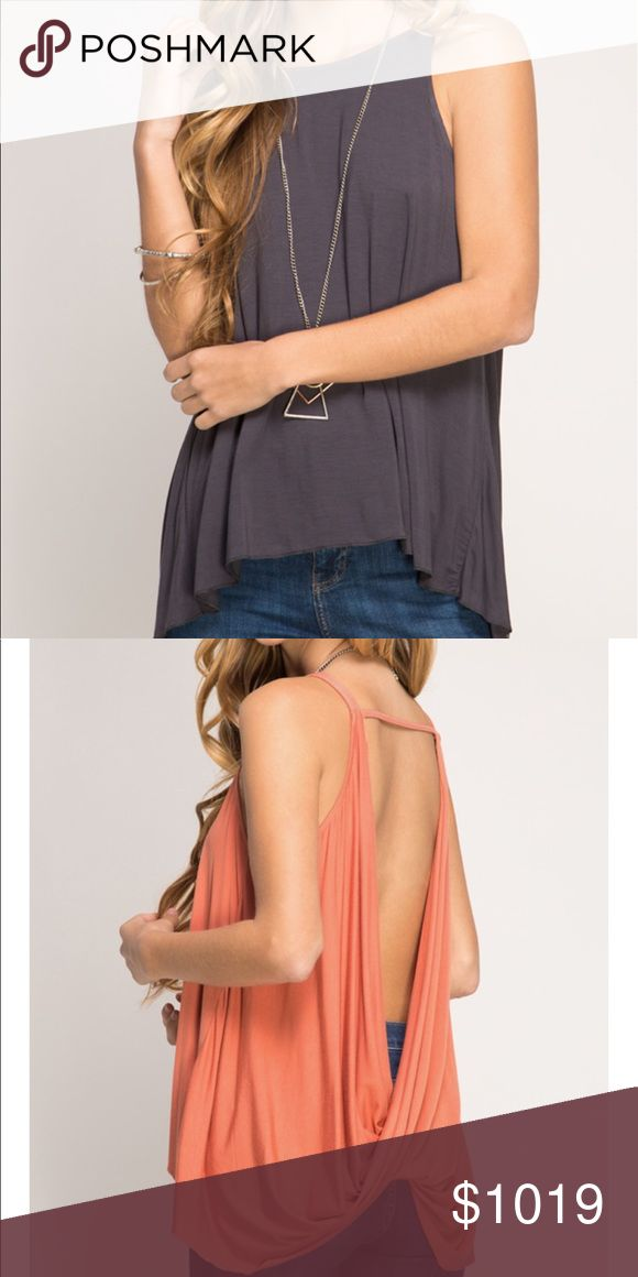 Coming soon Restocked, backless tank in charcoal color! Sleeveless tank top with twisted drop back. 70%cotton, 39%rayon price will be $30 She and Sky Tops Tank Tops