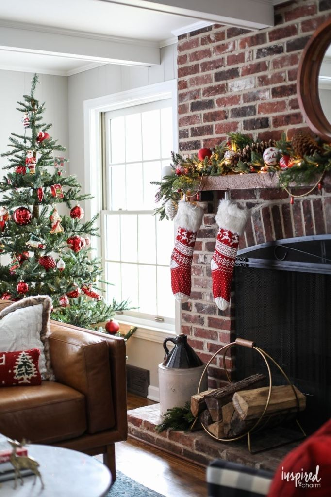 Red And Rustic Christmas Mantel Styling Inspiration Christmas Decorations Holiday Christmas Mantel Decorations Classic Christmas Decorations Holiday Decor