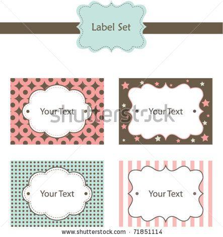 Cute Label Set - stock vector