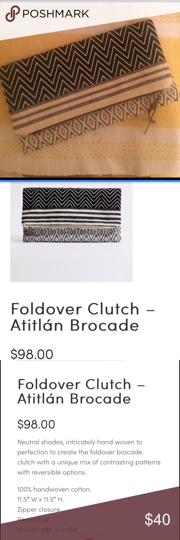 NEW!!! TRIBE ALIVE: Fold over Clutch! Reversible! Brand new- never been used! This clutch is Atitlán Brocade. It can be reversible. Summer must have! Check out the pictures for more specific details from the Alive Tribe website! Alive Tribe Bags Clutches & Wristlets