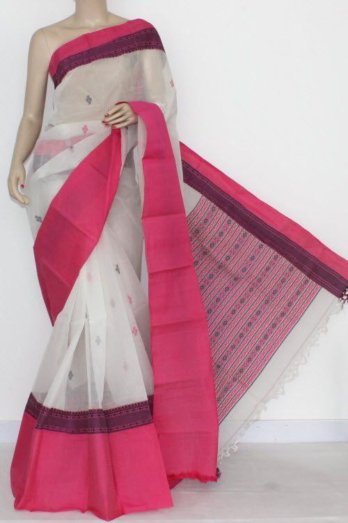 Off White - Pink Border Handwoven Bengal Tant Cotton Saree (Without Blouse) 14218