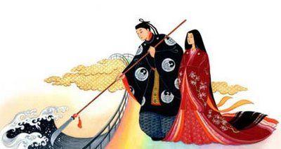 En los inicios, cobraron vida tres dioses invisiblesTakamagahara, Amanominakanushi-no-kami, Takamimusubi-no-kami. Les siguió siete generaciones de dioses y diosas celestiales, que dieron lugar a la pareja primordial, Izanagi-no-Mikoto (El Varón Augusto) y su hermana y esposa Izanami-no-Mikoto (La Mujer Augusta).
