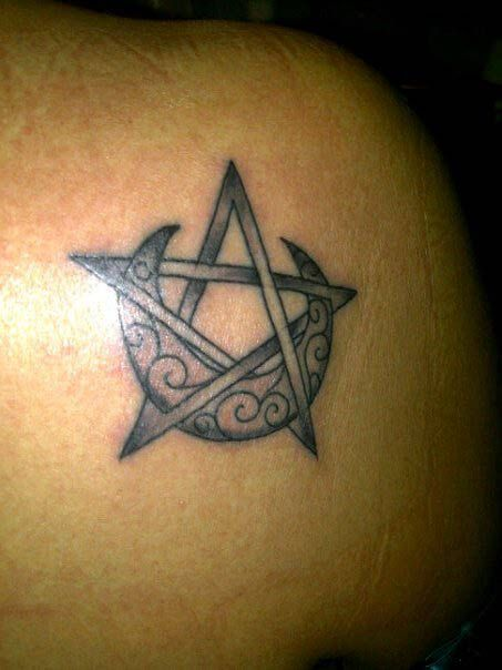 Wiccan+Pagan+Tattoos   Pentagram with Crescent Moon - Submit an Entry: Pagan Tattoo Gallery