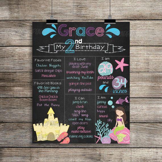 Custom Chalkboard Birthday Sign Poster Beach, Shells, Mermaid Theme, Birthday Favorites, Birthday Milestones, Birthday Statistics Poster by CaraCoPrintables on Etsy