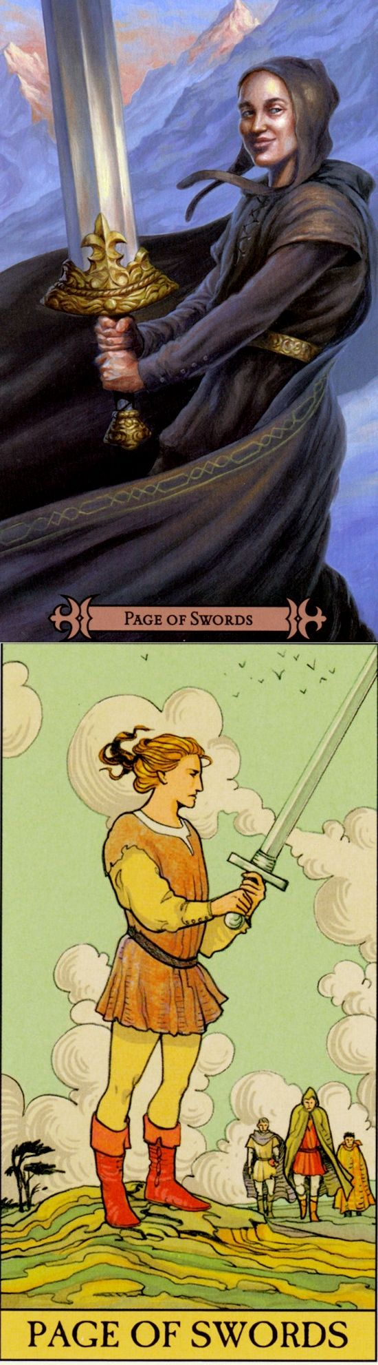 Page of Swords: curiosity and overenthusiasm leading to rushed/poor planning (reverse). Spellcasters Tarot deck and After Tarot Tarot deck: tarot antique, tarot rider waite and free tarot card for today. The best playing card tattoo ideas and gothic. #devil #minorarcana #tarotmeanings #wicca