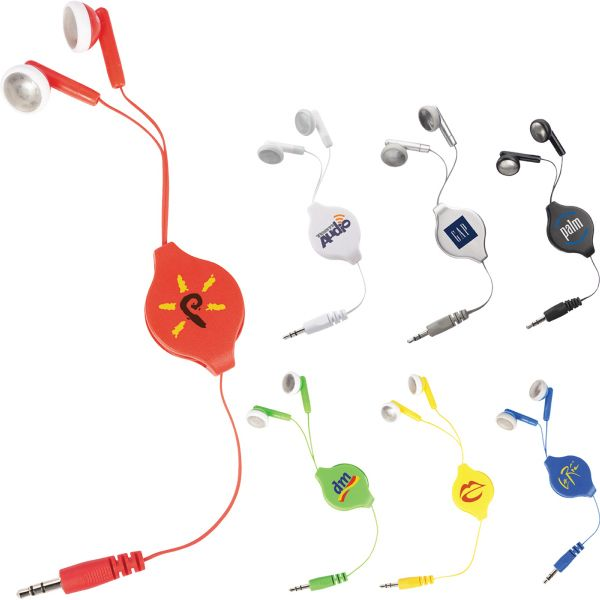 These plastic, retractable earbuds will stay untangled on the go! These ear buds come in a variety of colors to choose from and can be customized to y…