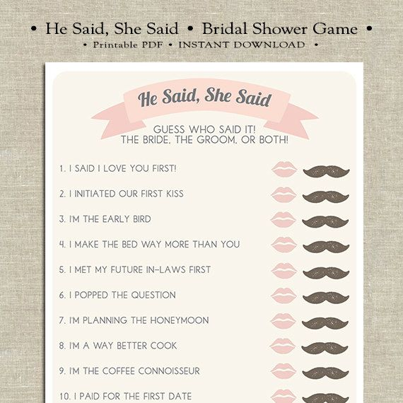 bridal shower game he said she said bride or groom game funny shower game printable game wedding shower game instant download shower pinterest