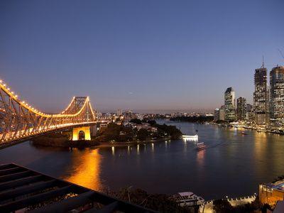 Story Bridge, Kangaroo Point, Brisbane River and City Centre at Night, Brisbane, Queensland, Austra