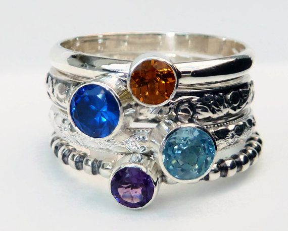 Hey, I found this really awesome Etsy listing at https://www.etsy.com/listing/76725596/4-birthstone-stacking-rings-mothers-ring