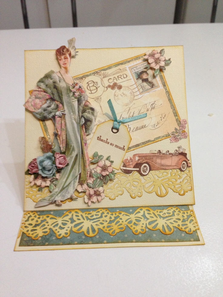 Farewell card #62 made with: Graphic 45 paper 'A Ladies' Diary Collection' n Martha Stewart punch
