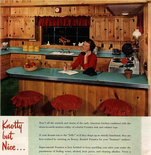 1950s interior design and decorating style — 7 major trends --- Retro Renovation --- 2. Do It Yourself with Knotty Pine and Resilient Floor Tile --- part of the Early America style, but also about resourcefulness and a DIY spirit.