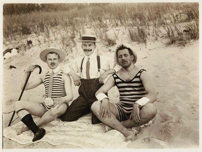 Vintage beach photo Men's bathing suits