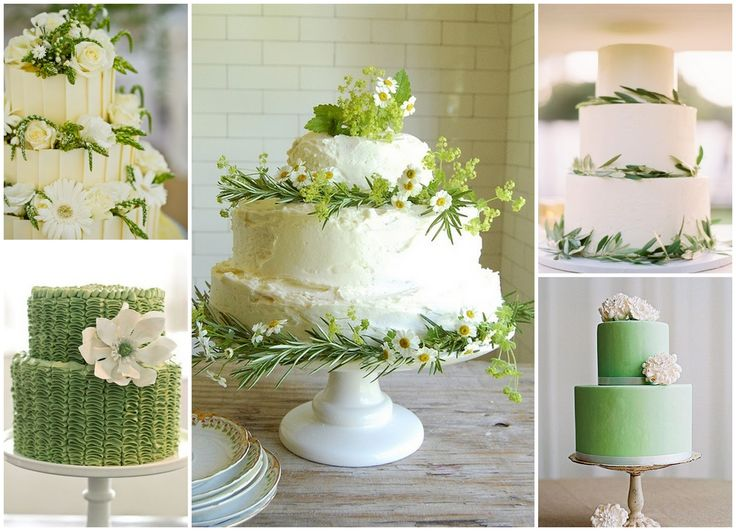 light green and white wedding cakes