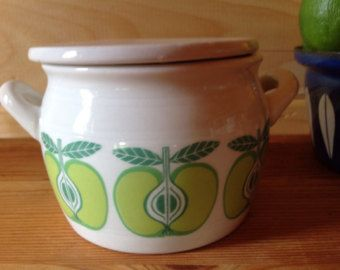 Set of Six Arabia Finland Pomona Green Apple 9 by Onmykitchentable