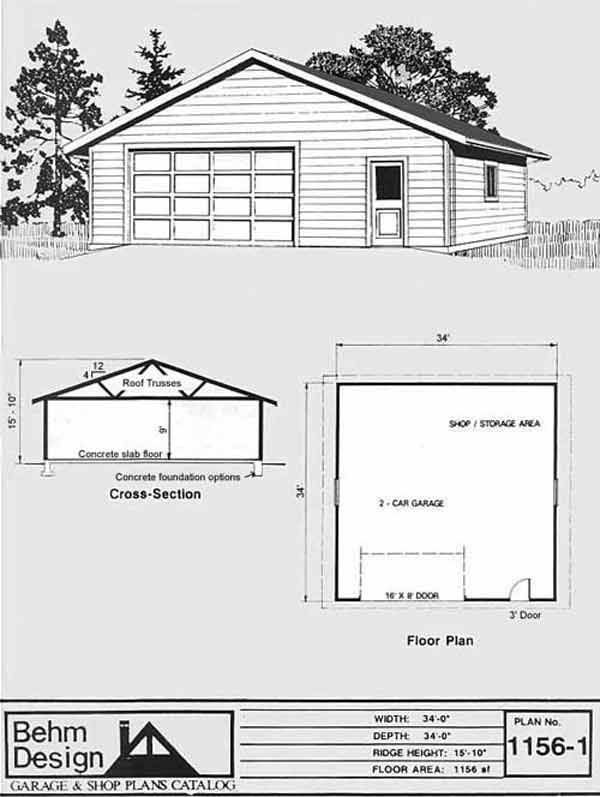 Oversized two car garage with shop space plan 1156 1 34 39 x for Garage plans with shop space