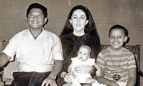 This 1970's photo provided by the Obama campaign shows the presidential hopeful, Obama, 9, with his mother Ann Dunham, his Indonesian stepfather Lolo Soetoro, and his less than one-year-old sister Maya Soetoro in Jakarta, Indonesia.