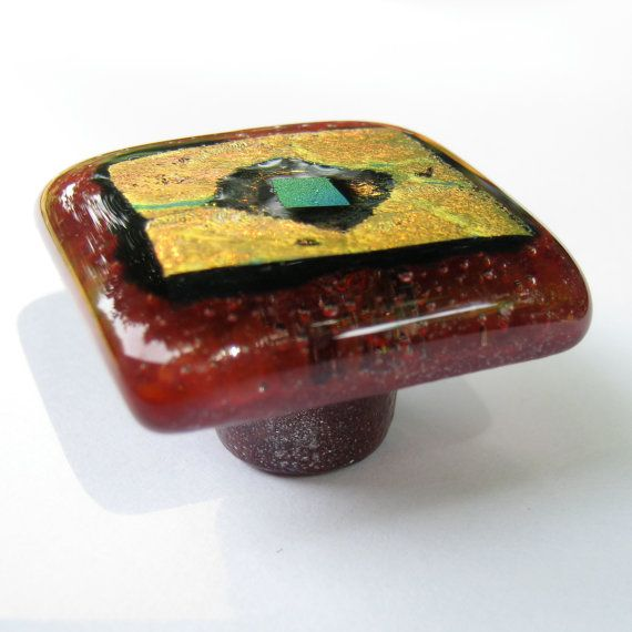 Torch Lake fused glass knobs pulls handles cabinet hardware eclectic furniture drawer red dichroic dresser vintage closet knob pull handle