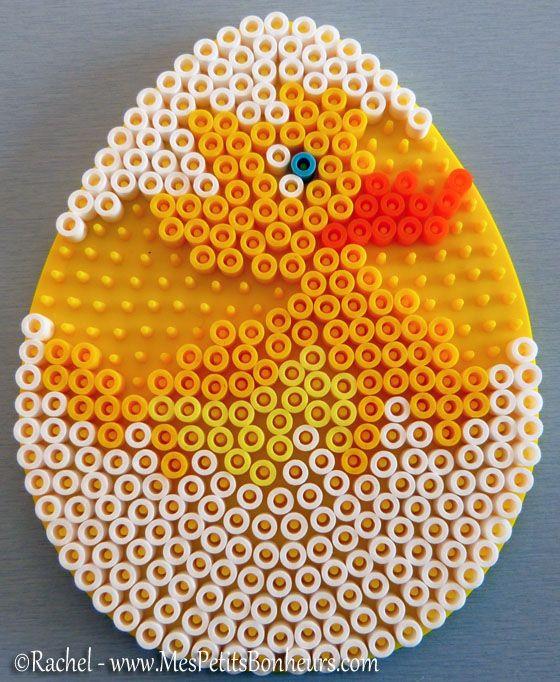 perles hama paques modele canard dans oeuf