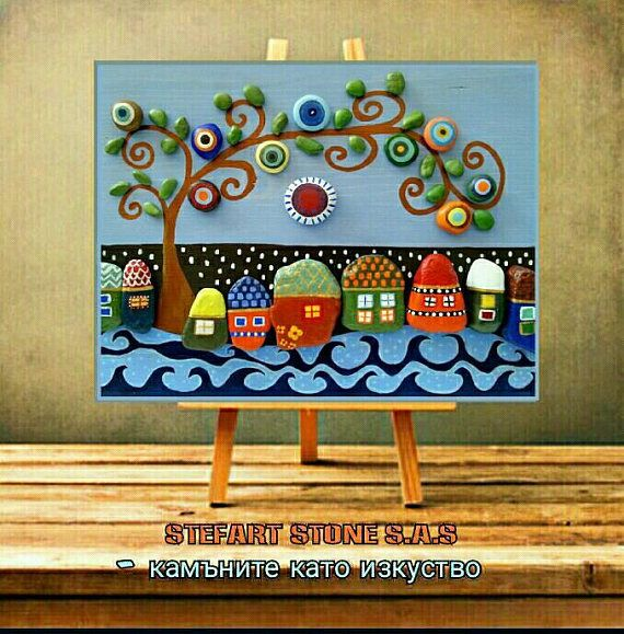 *MADE TO ORDER* ➡ 3-5 days!! ✔ ⭐⭐⭐⭐⭐⭐⭐⭐⭐⭐⭐⭐⭐⭐⭐⭐⭐⭐⭐⭐⭐⭐ ☀ Colorful Wall art ☀ Rustic Wall art ☀ pebble art, Unique Home Decor, ☀ Modern Art, stone Art ☀ Family Gift, Mothers gift, 3D Wall art, house art ⛰ The Village 1 By StefArt Stone S.A.S ⛰ ☘☘☘☘☘☘☘☘☘☘☘☘☘☘☘☘☘☘☘☘☘☘☘ ✔✔✔ ➡. If you