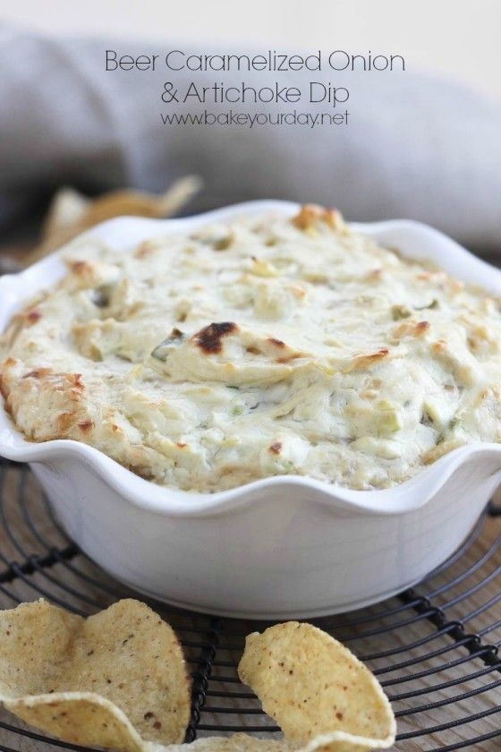 Cheesy Beer, Caramelized Onion & Artichoke Dip