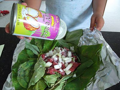 Lu Pulu (and Lu Sipi)- Tongan traditional dish of taro leaves, corned beef or lamb, onion and coconut milk. Recipe (with photos) has been adapted to Western ingredients. Samoan palusami is basically the same but, traditionally, without the meat (although sometimes now meat is added).