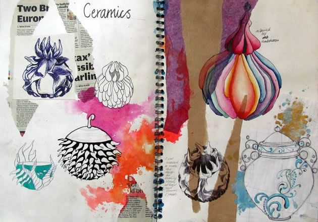 Folio inspiration.  Sketchbook by Aqsa Iftikhar.  This vibrant sketchbook page shows the development of ideas for a ceramics piece, with intricate pen drawings rendered using a range of mediums.