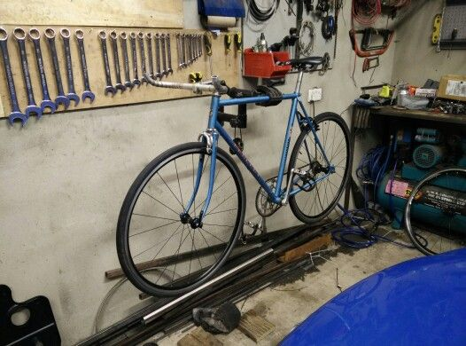 Peugeot 103 frame, shimano r500 wheels.. Converted to single speed. Upturned bars.. Just waiting on long reach brakes..