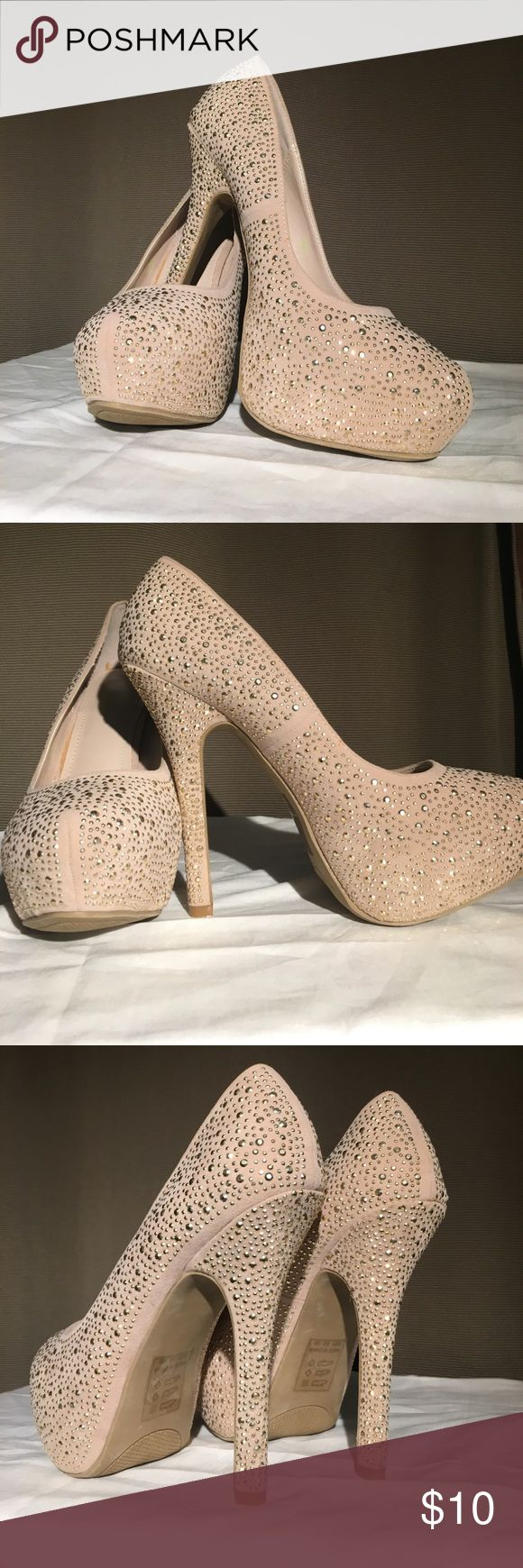Tay by Shoedazzle: Champagne colored rhinestone Champagne colored rhinestone platform heels. 5 inch heel, inch platform. Never worn!! The orange stains inside shoe is from the glue of the insole. They do run a half size bigger! Shoe Dazzle Shoes Heels
