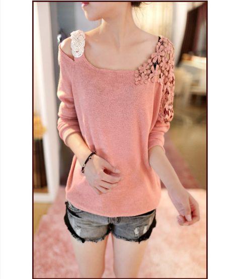 Bordado del ganchillo del hombro manga larga de encaje moda desigual mujeres blusa de la muchacha Tops para ropa de mujer