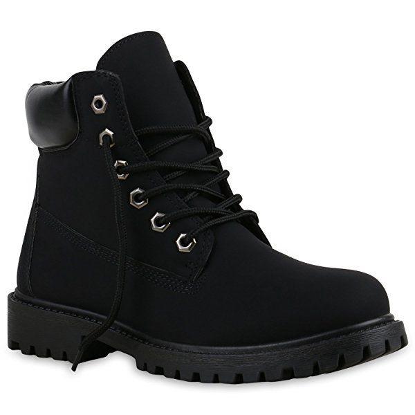 ed15665a91b429 UNISEX Damen Herren Boots Bequeme Worker Boots Profilsohle Outdoor Schuhe  137312 Schwarz Total Brooklyn 36