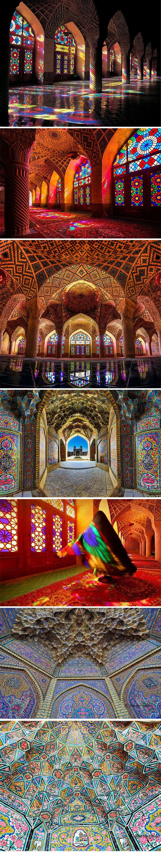 //A Stunning Mosque, Illuminated With All Of The Colors Of The Rainbow in Shirakawa, Iran #mosque
