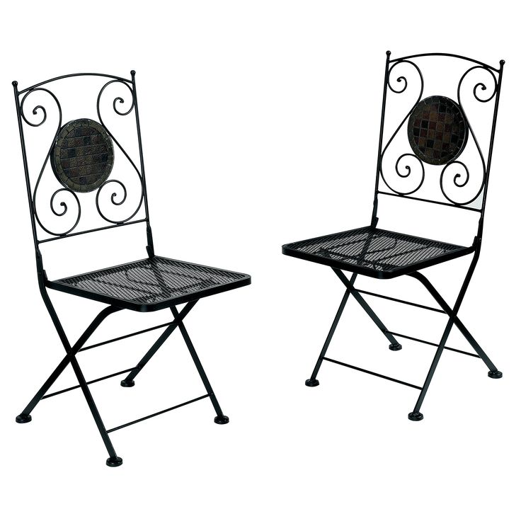 "Furniture of America Solaro Mosaic Design Outdoor Chair, Black, Set of 2. Transitional style outdoor chair. Sturdy cast-iron frame with scroll detail, weather-resistant, foldable. Decorative stone mosaic back with scrolled metal details. Finished in Black, matching table available separately; Sold in sets of 2. Overall dimensions: 38.8""H x 15.33""W x 16.8""D."