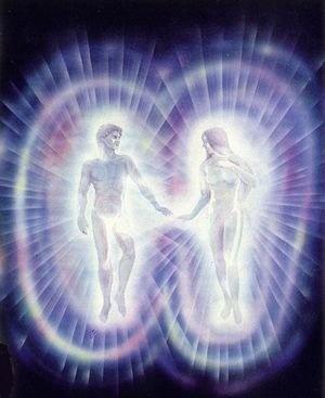 Luz divina de dos seres de amor