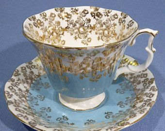 Royal Albert Blue Cascade Series Tea Cup and Saucer, Royal Albert Cascade, Half Blue Half White, Gold Overlay, Made in England 1960 - 70