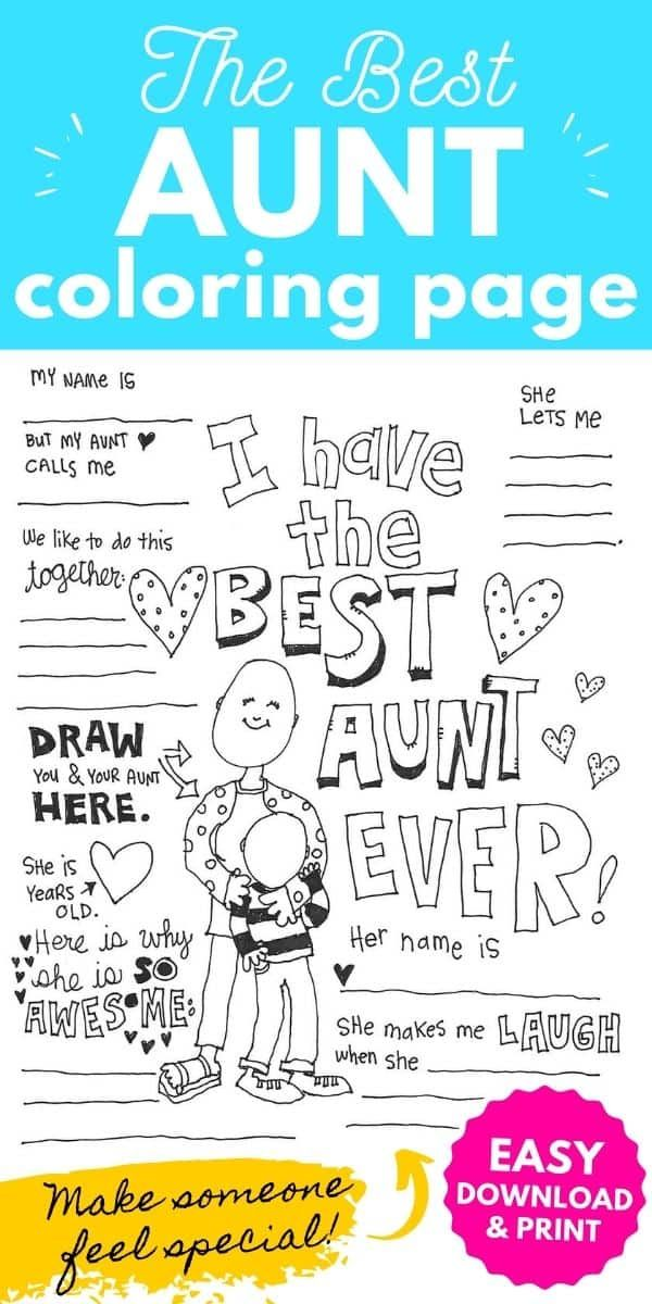 Best Aunt Coloring Page Coloring Pages Best Aunt Printed Cards
