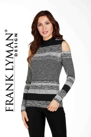 Stylish cold shoulder sweater. Proudly Made in Canada