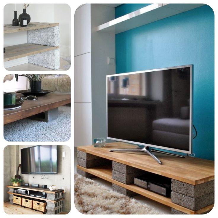 Столик или подставка консоль для телевизора своими руками из бетонных блоков