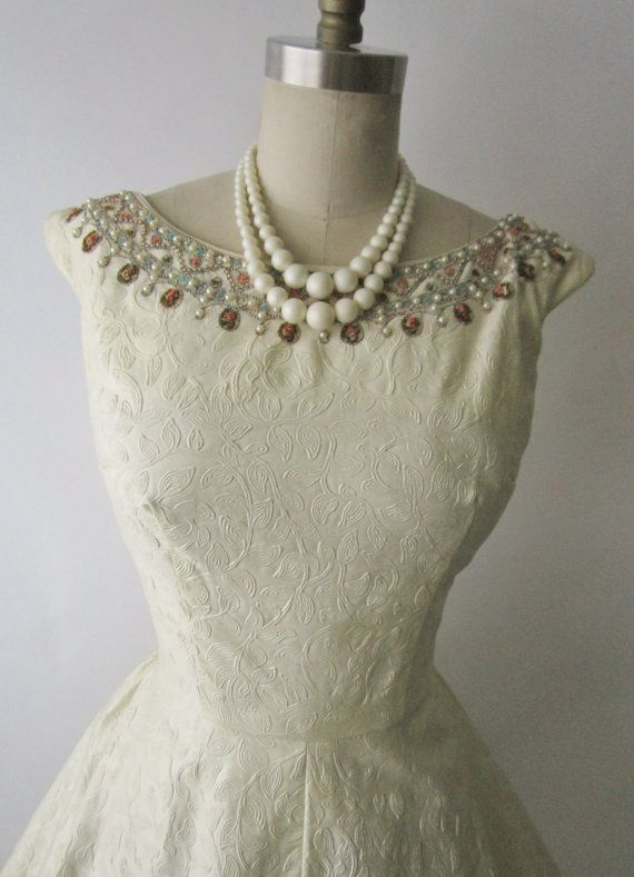 50's Wedding Dress // Vintage 1950's Beaded by TheVintageStudio