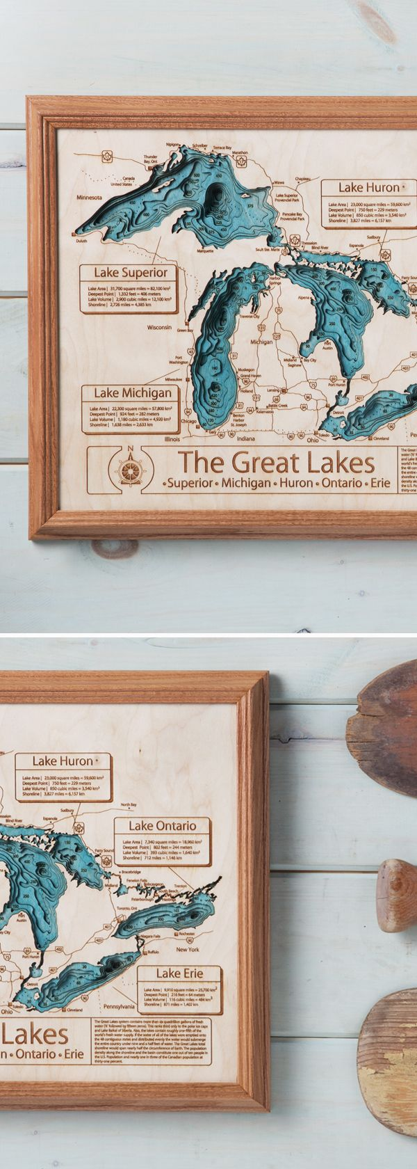 These wooden maps are custom-made for commemorating that special lake in your life.