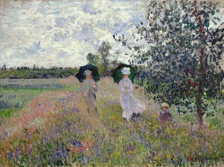 """Promenade near Argenteuil"" (1875) By Claude Monet (French, 1840-1926) oil on canvas; 60 x 61 cm Place of creation: Argenteuil, France © Musée Marmottan Monet, Paris http://www.marmottan.fr/"