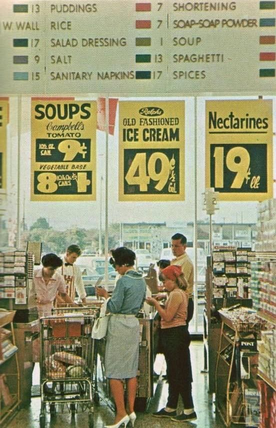 A nostalgic look at supermarkets in 1965. Check out those prices!