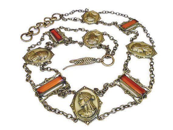 Art Deco Belt Czech Amber Glass Roman Warrior by zephyrvintage