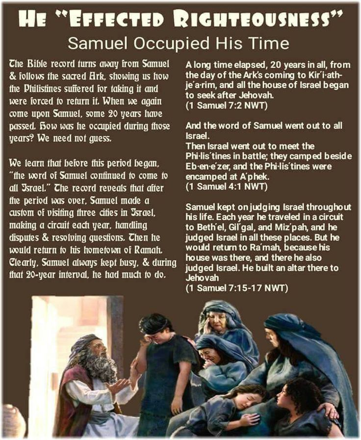 A long time elapsed, 20 years in all, from the day of the Ark's coming to Kirʹi·ath-jeʹa·rim, and all the house of Israel began to seek after Jehovah. (1 Samuel 7:2 NWT) And the word of Samuel went out to all Israel. Then Israel went out to meet the Phi·lisʹtines in battle; they camped beside Eb·en·eʹzer, and the Phi·lisʹtines were encamped at Aʹphek. (1 Samuel 4:1 NWT) Samuel kept on judging Israel throughout his life. Each year he traveled in a circuit to Bethʹel, Gilʹgal, and Mizʹpah…