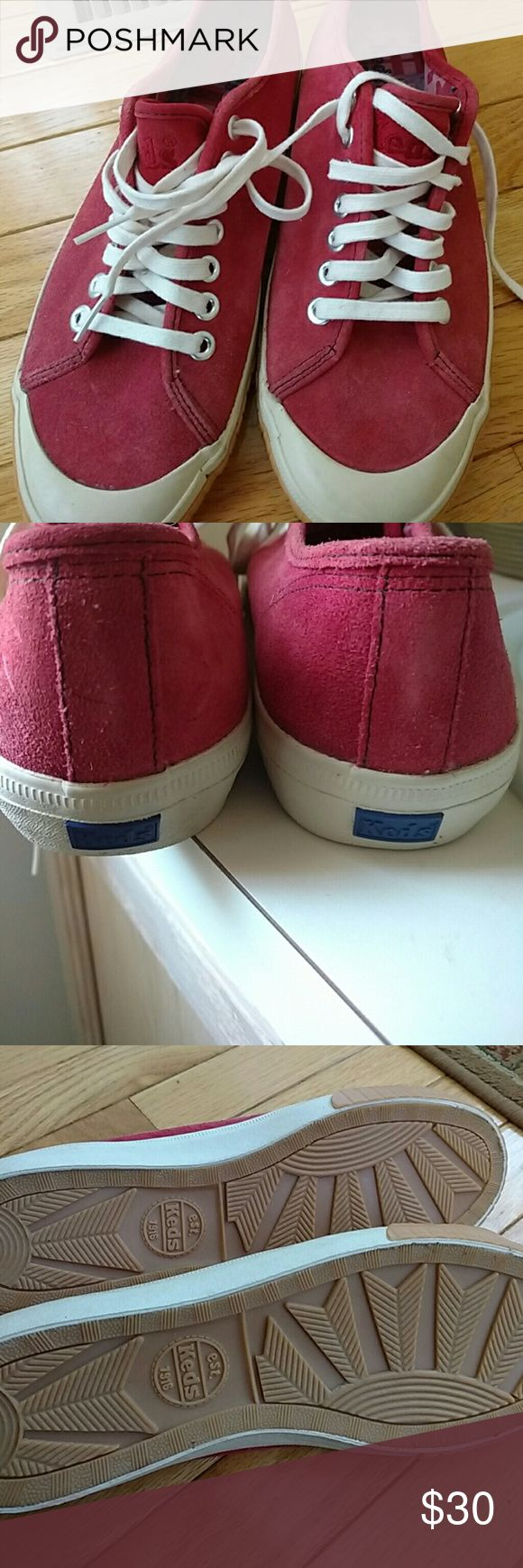 Vintage Keds Tennis Shoes/Women Red velvet texture. Keds Shoes Sneakers