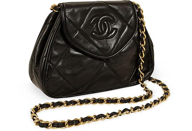 Chanel Black Lambskin Evening Bag on OneKingsLane.com