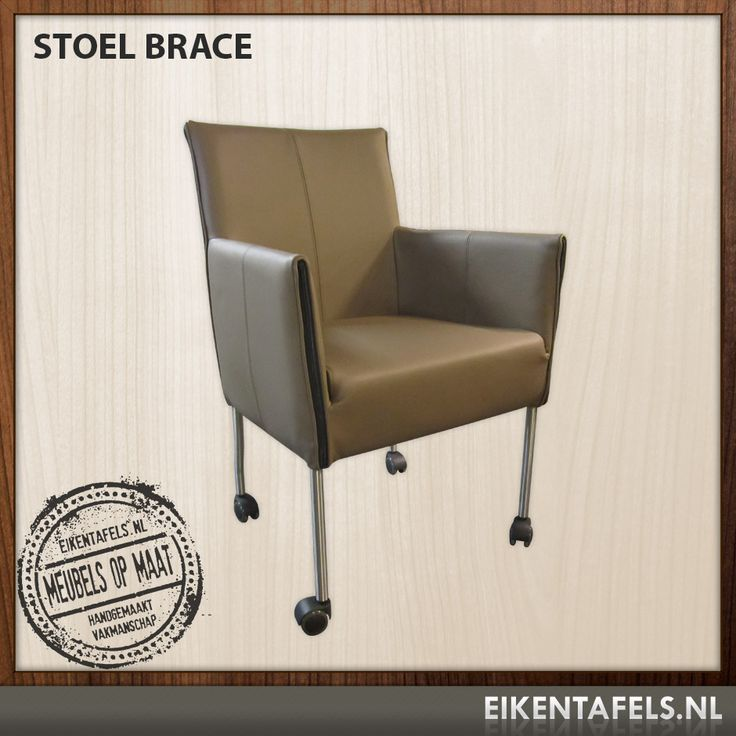 *Stoel Brace* http://www.eikentafels.nl/product,Stoel+Brace,438  Eetkamerstoel Brace, de rugleuning , zitting en de armleuningen zijn fraai gestikt, waardoor deze stoel een mooi strak uiterlijk krijgt. Een stoel met erg veel comfort en stijl. Deze stoel mag gezien worden, de wieltjes onder de stoel maken de eetkamerstoel makkelijk verrijdbaar. Eikentafels.nl heeft een steeds breder assortiment eetkamerstoelen, zodat er voor iedereen een ruime keuze is.