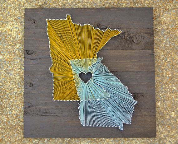 "Two State String Art on 21""x21"" Stained Wood- Customizable String Art - create Michigan overlapping Indiana"